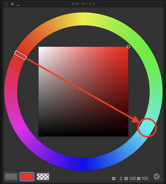 補色はカラーサークル上の正反対に位置する色です